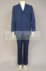 Doctor Who The 10th Doctor / Tenth Doctor Dr. Blue Pinstripe Suit  Cosplay Costume