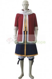 Fairy Tail Natsu Dragneel Cosplay Costume Red and Dark Blue