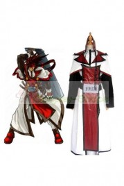 Guilty Gear XX Sol Badguy Cosplay Costume Wine Red and White