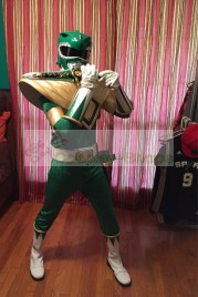 Power Rangers Mighty Morphin MMPR Green Ranger Burai Dragon Ranger Cosplay Costume with Shield Prop