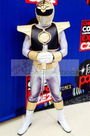 Power Rangers Mighty Morphin MMPR White Ranger Cosplay Costume with Shield Prop