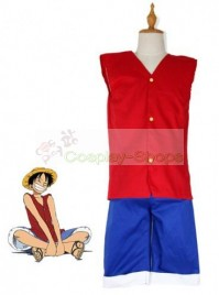 One Piece Luffy Cosplay Costume Red