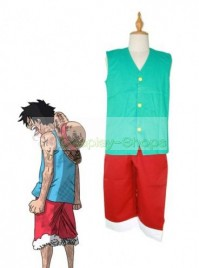 One Piece Luffy Cosplay Costume Sky Blue