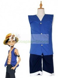 One Piece Luffy Cosplay Costume Blue