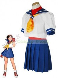 Street Fighter Sakura Kasugano Sailor Suit White and Blue Cosplay Costume