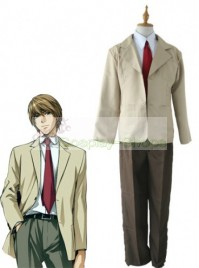Death Note Light Yagami School Uniform Light Yellow Cosplay Costume