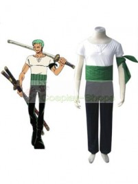 One Piece Roronoa Zoro Cosplay Costume Green White