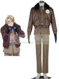 Axis Power Hetalia American Military Brown Cosplay Costume