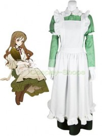 Axis Power Hetalia Little Italy Maid White and Green Cosplay Costume