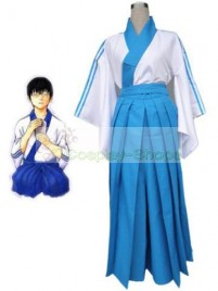 Gintama / Silver Soul Shimura Shinpachi Cosplay Costume White and Blue