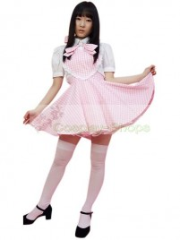 Pink Plaid Pattern Sweet Cotton Maid Outfit