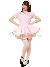 Pink Puff Short Sleeves Maid Costume
