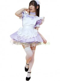 Traditional Purple Puff Short Sleeves Maid Costume