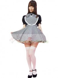 Black White Plaid Pattern Maid Costume