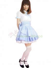 Lovely Blue White Cotton Maid Costume