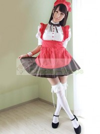 Red Black White Short Sleeves Maid Costume