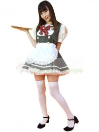 Gray White Sailor Pattern Maid Costume