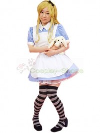Blue White Short Sleeves Maid Uniform