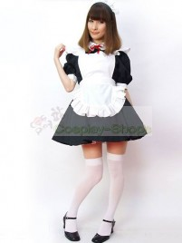 Black White Puff Half Sleeves Maid Costume