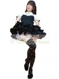 White Black Ruffles Short Sleeves Maid Costume