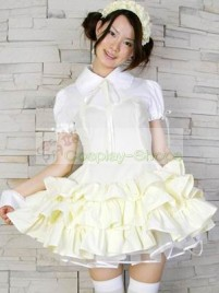 White Yellow Turndown Collar Maid Outfit