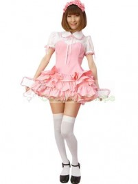 Pink White Ruffles Short Sleeves Maid Costume