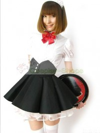 Black White Short Sleeves Maid Costume