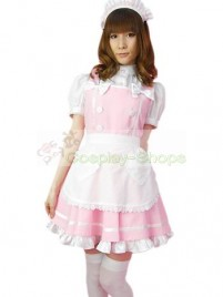 Pink White Puff Short Sleeves Maid Costume
