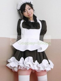 Traditional Coffee Puff Sleeves Maid Costume