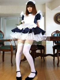 Dark Blue White Short Sleeves Japan Cafe Maid Costume