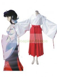 InuYasha Kikyo Cosplay Costume (White Red)
