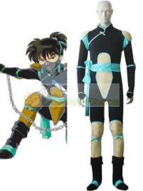 InuYasha Kohaku Fight Occasion Cosplay Costume (Black Sky blue)