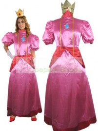 Super Mario Bros(SMB) Princess Peach Pink Cosplay Costume
