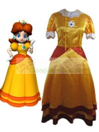 Super Mario Bros(SMB) Daisy Yellow Cosplay Costume