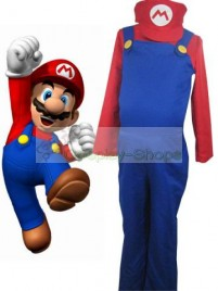 Super Mario Bros(SMB) Mario Blue and Red Cosplay Costume