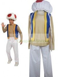Super Mario Bros(SMB) Kinopio(Toad) White and Light Yellow Cosplay Costume