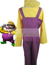 Super Mario Bros(SMB) Wario Purple and Yellow Cosplay Costume