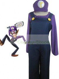 Super Mario Bros(SMB) Waluigi Purple and Dark Blue Cosplay Costume