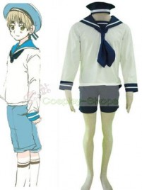 Axis Power Hetalia N.Italy Sailor Suit White and Blue Cosplay Costume