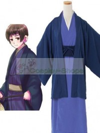 Axis Power Hetalia Honda Kiku Blue Cosplay Costume