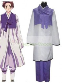 Axis Power Hetalia Korea Im Yong Soo Purple and White Cosplay Costume