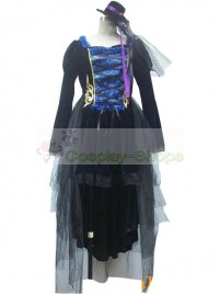 Vocaloid -  Miku Sandplay Singing Dragon Cosplay Costume Lotila Dress (Black)