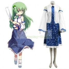 Touhou Project Kochiya Sanae White and Blue Cosplay Costume