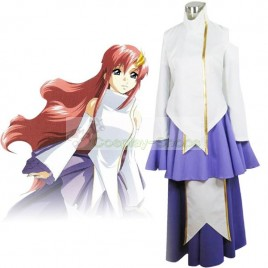 Gundam Seed Princess Lacus Clyne White and Purple Cosplay Costume