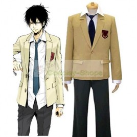 Katekyo Hitman Reborn Namimori High School Uniform Cosplay Costume Yellow and Black