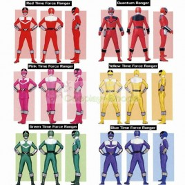 Power Rangers Time Force Red / Pink / Yellow / Green / Blue / Quantum Ranger Cosplay Costume