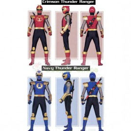 Power Rangers Ninja Storm Navy Blue Thunder Ranger / Crimson Red Thunder Ranger Cosplay Costumes
