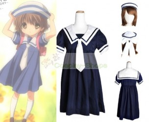 CLANNAD Ushio Okazaki Girl School Blue Dress Hat Full Set Uniform Cosplay Costume