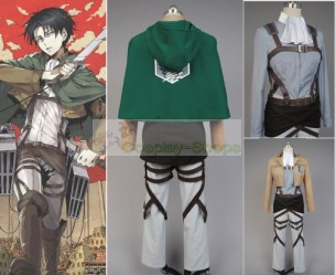 Attack on Titan Shingeki No Kyojin Scouting Legion / Survey Corps Levi Ackerman / Rivaille Cosplay Costume