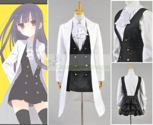 Inu x Boku SS Shirakiin Ririchiyo  White Coat with Dress Cosplay Costume